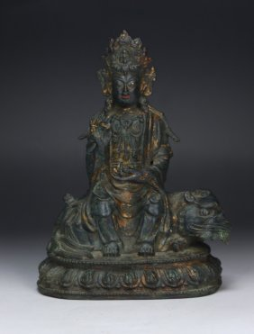 A Tibetan Gilt Bronze Figure Of Avalokiteshvara