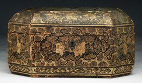 A Chinese Antique Gilt Lacquer Wood Box With Cover