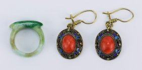 Pair Filigree On Silver Coral Earrings & Jadeite Ring