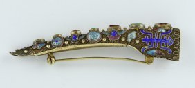 A Chinese Antique Jeweled Filigree On Silver Finger