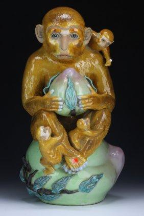 A Big Chinese Porcelain Monkey Group