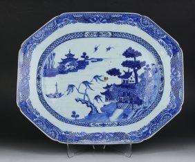 A Chinese Antique Export Blue & White Porcelain Platter