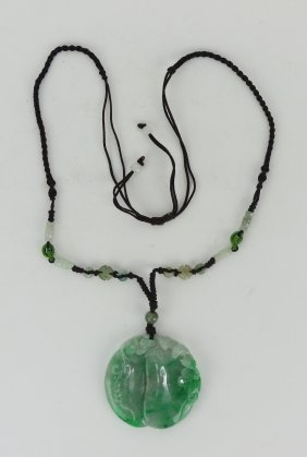A Chinese Jadeite Carved Pendant Necklace
