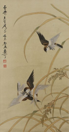 A Chinese Paper Painting Scroll By Xie, Zhiliu