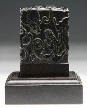 A Chinese Antique Soapstone Seal With Zitan Hardwood