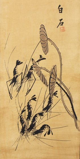 A Chinese Paper Hanging Painting Scroll By Qi, Baishi