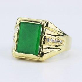 A Green Jadeite & 14k Gold Ring