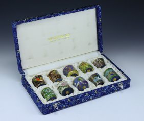 Set Of Ten (10) Chinese Vintage Cloisonne Lidded Cups
