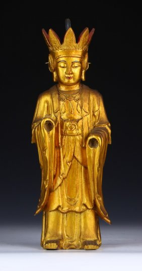 A Chinese Vintage Gilt On Wood Carved Figure