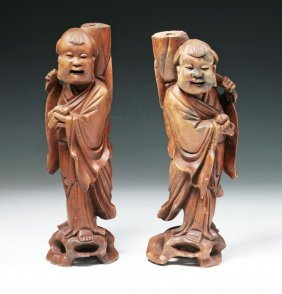 Pair Big Chinese Carved Wood Figures