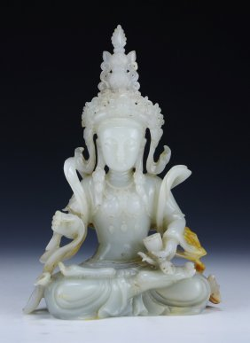 A Chinese Nephrite Celadon Jade Carved Guanyin