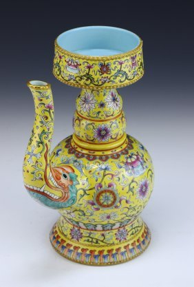 A Chinese Antique Famille Rose Yellow Glazed Ben Ba
