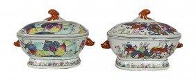 Pair Big Chinese Famille Rose Porcelain Lidded Tureens