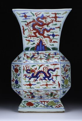 A Chinese Big Antique Famille Verte Porcelain Square
