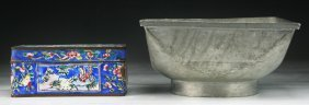 Two (2) Pewter & Cloisonne On Bronze Bowl & Box