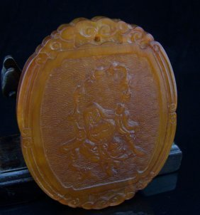 An Antique Chinese Horn Carving Plaque