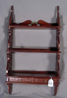 HAND CRAVED MAHOGANY WALL SHELVES