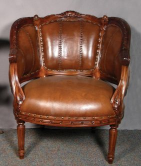 HAND CARVED ENGLISH MAHOGANY AND LEATHER TUB CHAIR