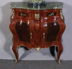 FRENCH STYLE WOOD AND ORMOLU COMMODE WITH MARBLE T