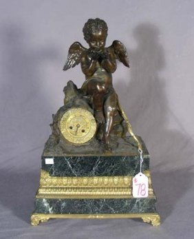 19TH CENTURY BRONZE AND MARBLE MANTLE CLOCK