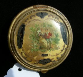 ANTIQUE HAND PAINTED FRENCH METAL COMPACT