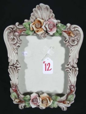 ORNATE ITALIAN PORCELAIN PHOTO FRAME