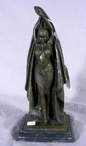 ART DECO STYLE BRONZE SCULPTURE OF STANDING WOMAN