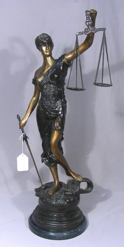 """Large Bronze Sculpture """"scales Of Justice"""""""