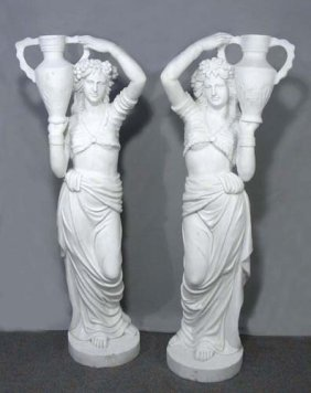 Outstanding Pair Of Italian Marble Standing Girls
