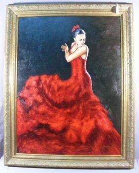 Original Large Oil On Canvas: Spanish Dancer