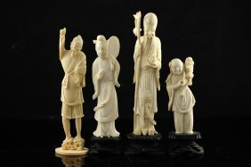 Lot Of Four Chinese Carved Ivory Figures On Original