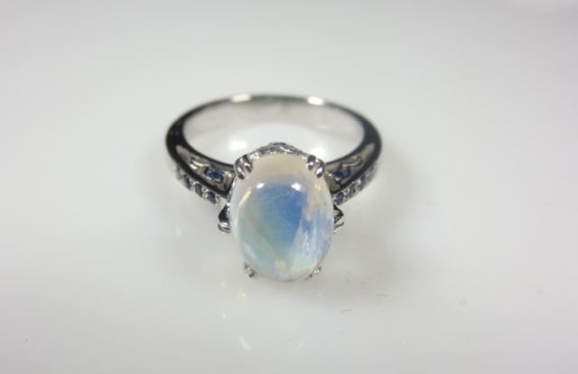 moonstone 14k white gold and sapphire ring lot 253