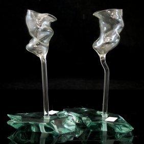 Blown Glass Vases By Danny Lane (british 1955-)