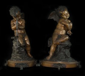 Antique Signed Bronze Cherubs