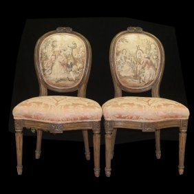 Antique Wooden Tapestry Chairs
