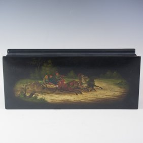 Old Fedoskino Black Lacquered Papier Mache Box