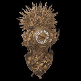 French Louis Xv Style Bronze Wall Clock