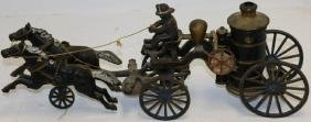 19th C Cast Iron Horse Drawn Fire Pumper With