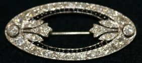 Platinum Diamond And Ruby Pin Set With