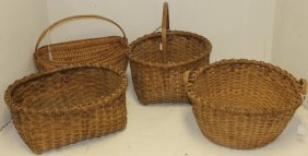 Four 19th C Splint Baskets To Include 11""