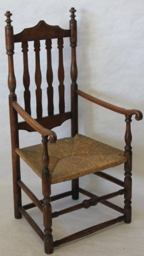 Early 18th C American Bannister Back Arm Chair,
