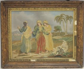 Early 19th C Needlework On Silk With Painted