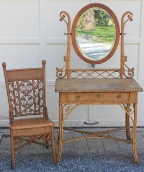 Rare American Wicker Dressing Table With Mirror