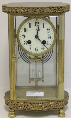 Brass And Glass Crystal Regulator Clock, French