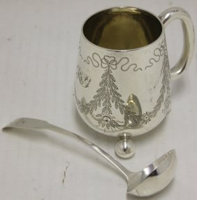 19th C Scottish Sterling Silver Mug With Handle,
