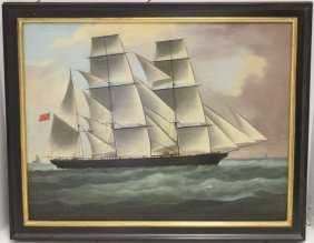 Oil Painting On Canvas, Unsigned, Depicts An