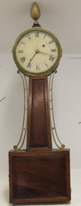 Early 19th C American Inlaid Banjo Clock, Brass