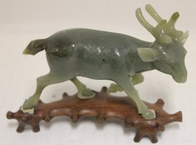 Chinese Carved Jade Deer, Early 20th C, Nephrite,