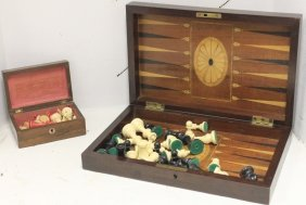19th C Inlaid Mahogany Game Board With Checkers
