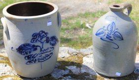 2 American Decorated Stoneware Pcs. 1 Is A 11""